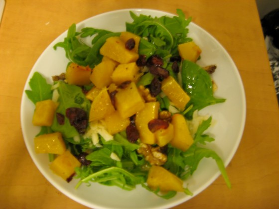roasted butternut squash salad with warm cider vinaigrette |